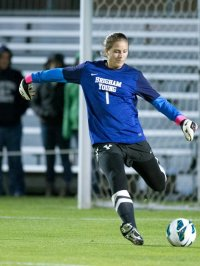 Former BYU goal keeper Erica Owens who served as an assistant for Skyline this season (BYU Photo, Jaren Wilkey)