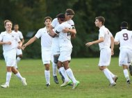 Scarsdale defeated New Rochelle 5-2 in a boys soccer game at Quaker Ridge School in Scrasdale Oct. 13, 2015.
