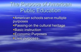 Purpose of public education in American