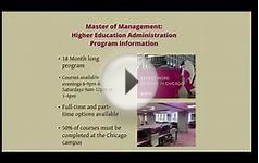 Master of Management in Higher Education Administration
