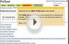 Publications Tab - ProQuest CBCA Education Tutorial
