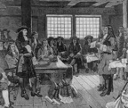 William Penn confers with colonists